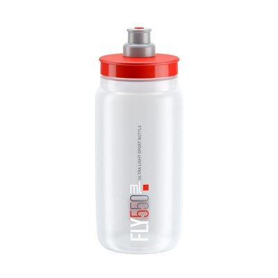 BIDON ELITE FLY TRANSPARENTE LOGO ROJO 550 ml
